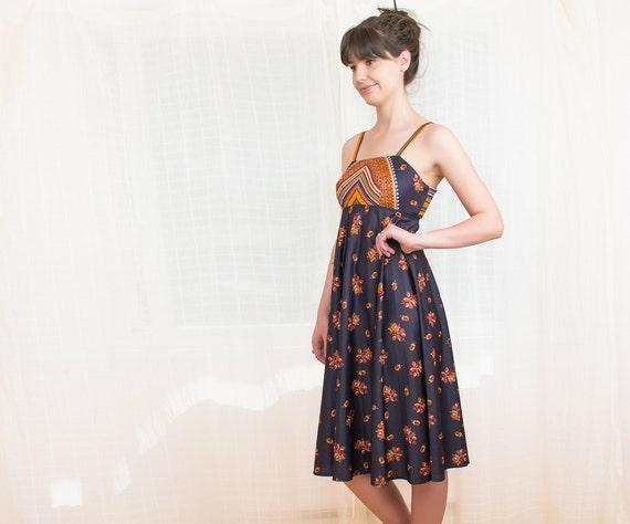 1970s Summer Dress - 70s Boho Scarf Print Dress - S