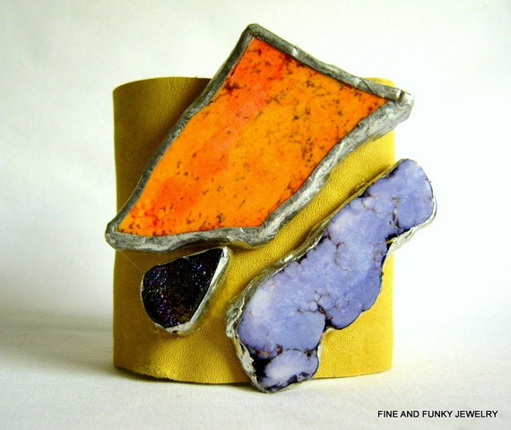Reserved for Marcie -leather cuff bracelet -bright yellow leather cuff with orange purple druzy drusy size 1