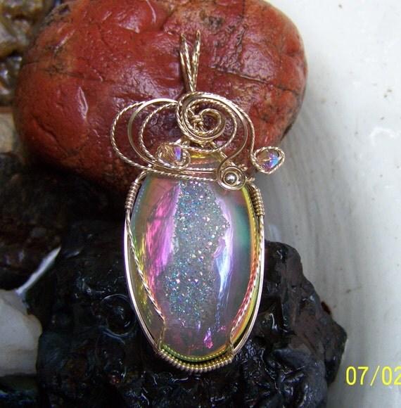 druzy wire wrapped pendant