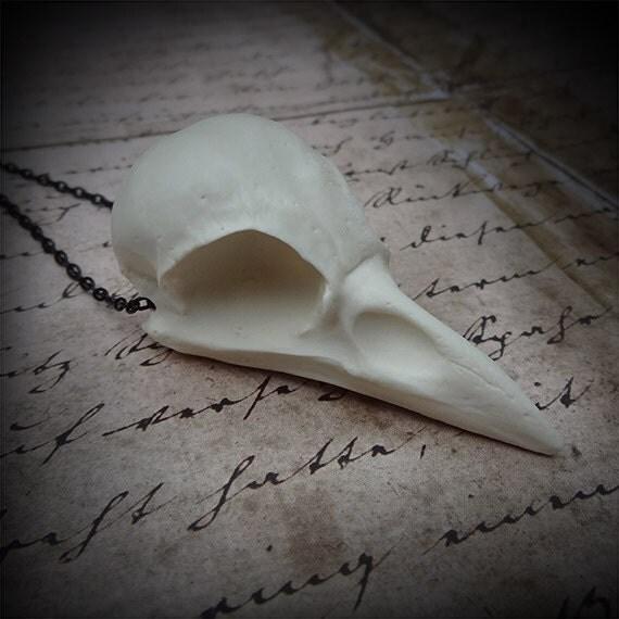 Bird Skull Necklace Crow Pendant - Goth Gift Dark Tower