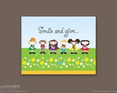 Smile And Give Thanks Children's Wall Art - 8x10 Print
