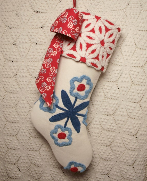 Red, White and Blue Flowers Vintage Chenille Heirloom Stocking with Big Bow
