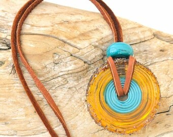 Glass Disk Bead Pendant  Topaz Brown and Turquoise Bead on Leather Cord