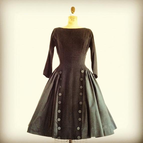 1950s Black Button Dress 50s Full Skirt Dress Wool Taffeta Xs