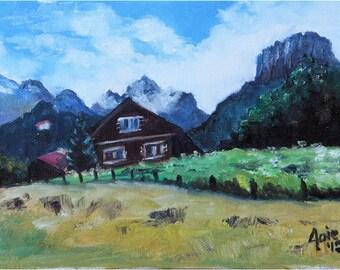 Swiss Chalet Landscape Painting - 8x6in Original Oil