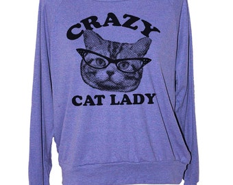 CAT SWEATSHIRT- cat lady sweater pullover american apparel S M L -- (5 Color Options) skip n whistle