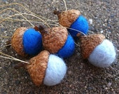 Hanukkah Blue Felted Acorn Ornaments -Set of 5 - Natural Woodland Holiday Season Eco Friendly Decor