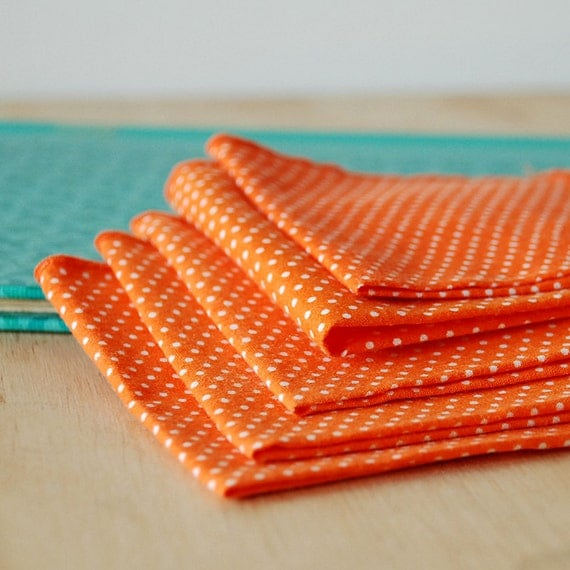 Vintage Orange Polka Dot Cocktail Napkins - Orange and White