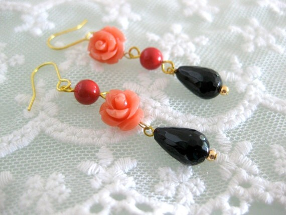 Red coral and orange flower earrings with teardrop bead. Assymetrical unique earrings.
