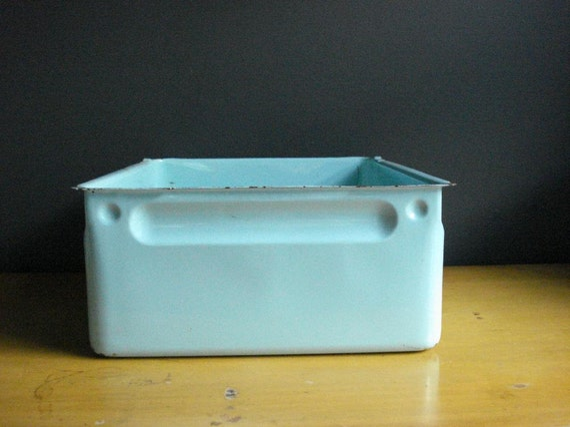 SALE - Vintage Teal Enamel Refrigerator Bin - Vintage Enamel Storage