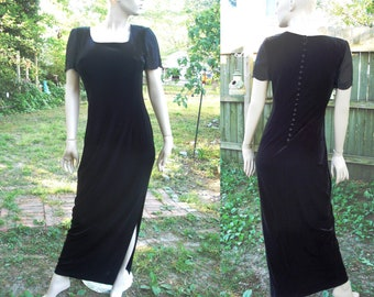Vintage Dress in Stretchy Velour, Donna Morgan Dress, Little Black Dress, 80s Dress, Stretchy Dress, Evening Dress Size 8