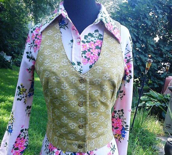 Adorable 60's Vintage Vest by Jantzen in Gold Estimated Size 8-10 60s vest womens vest