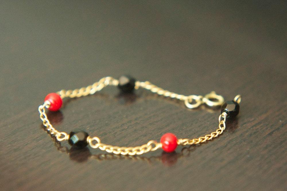 handmade baby azabache 14k gold filled bracelet