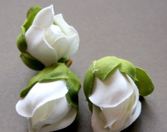 3 White Gardenia Buds - Barely Blooming - Artificial Flowers, Silk Roses