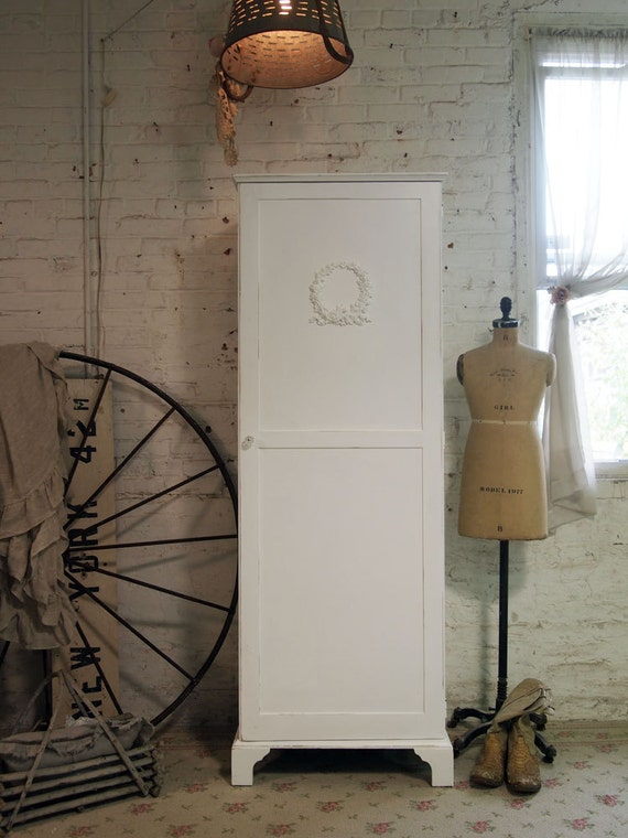 Painted Cottage Chic Shabby White Armoire AM250