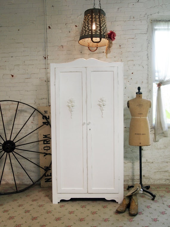 RESERVED For MEGHAN Painted Cottage Chic Shabby White Vintage French Armoire AM260