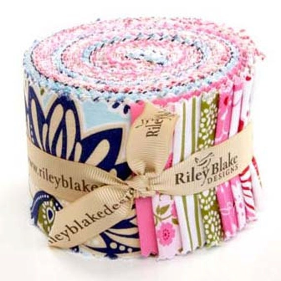 Pink and Blue Fabric Jelly Roll Songbird by Riley Blake
