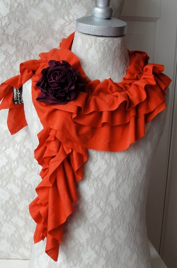 Mini RUFFLE scarf with rose brooch by FAIRYTALE13 - Hot Orange with purple rose.