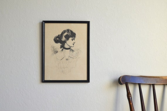 vintage Orignal Gibson Girl framed picture