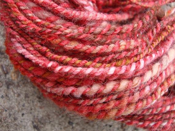 SALE Scarlet Handspun Hand Dyed Alpaca Llama Merino Wool Art Yarn