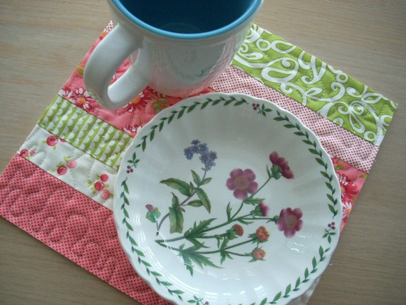 Ruby in pink and green snack mat - FREE SHIPPING