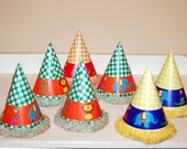 1950s birthday party hats, crepe paper trim, circus animal theme, gingham, green yellow - vintagerunway