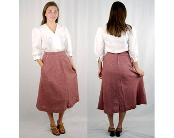 Wool tweed skirt, 1970s tweed skirt, mauve, dusty rose, midi skirt, skirt with pockets, size M