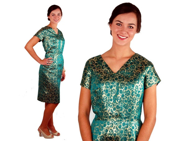 1960s cocktail dress, green and gold metallic brocade,Mad Men dress, Size L