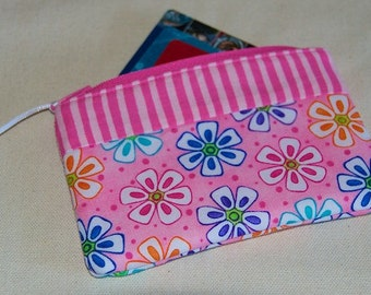 Pink Floral Mini Zipper Wallet