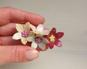 Vintage Corsage Brooch - Early Plastic, Maybe Celluloid.