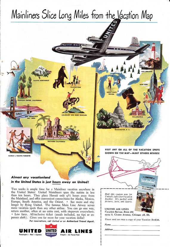 Vintage  1949 United Airlines Travel  advertisement