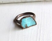 Copper Ring Modern Turquoise December Birthstone Handmade Ring Simple Raw