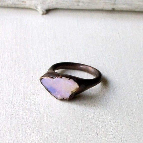 Copper Boulder Opal Ring Ethereal Purple Violet Stone October Birthstone Natural Raw Patina Artisan