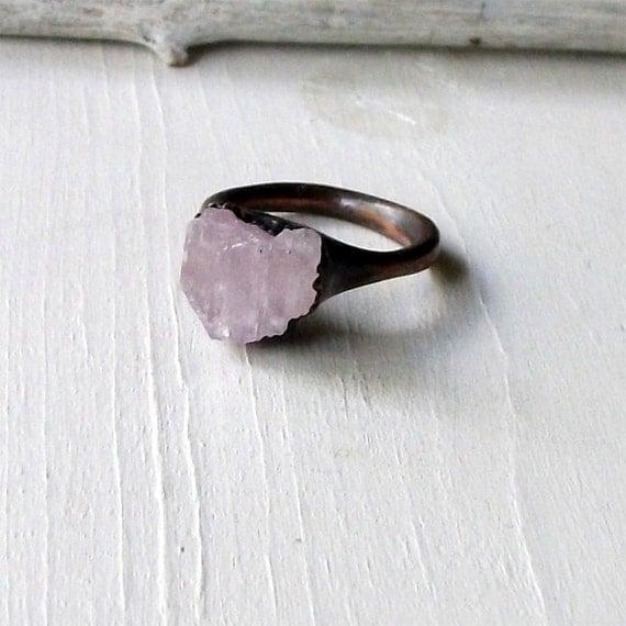Kunzite Copper Ring Lavendar Pink Gem Stone Artisan Raw Gem Organic Artisan Handmade