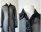 vintage 90s SILK SEQUIN sheer shirt size S M L
