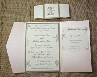 ALYSSA Pocketfold Beach Wedding Invitations - Seashell Wedding Invitation- Blush Shimmer Invitation DEPOSIT to get started
