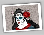 Muertos Day of the Dead Geisha Girl Illustration, 7x5 Commercial Art Print