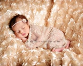 Baby Girl Wrap, Light Tan Lace Stretch Wrap, Newborn Girls Props, Newborn Stretch Wrap, Baby Headband, Posing Fabric Props, Neutral Props