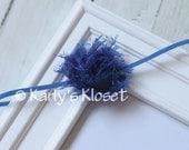 Royal Blue Frayed Chiffon Fabric Baby Girl Headband - Newborn Toddler Photography Prop