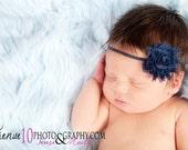 Navy Blue Shabby Chiffon Fabric Flower Headband - Skinny Elastic Baby Toddler Child Girl Photo Props