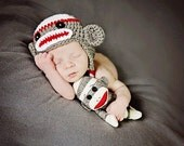 White, Red & Dark Gray Sock Monkey Earflap Hat with Matching Doll - Newborn Baby Boy, Girl Photography Photo Prop