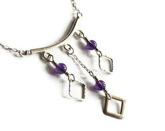SALE Amethyst Three Squares Sterling Silver Necklace