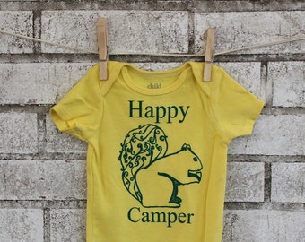 Happy Camper Baby Bodysuit, Woodland Squirrel, Nature, Yellow, Cotton, Infant creeper