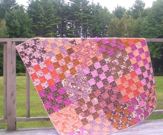 Autumn Lap quilt,  fall quilt, original design, hand quilted, Denyse Schmidt Hope Valley