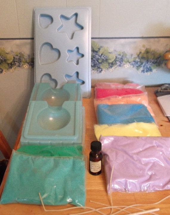 Home made Candle Kit Wax Molds,Wick Instructions candle holders Craft kit