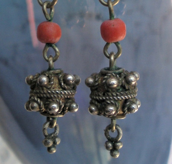 Antique Sterling and Coral Yemen Earrings
