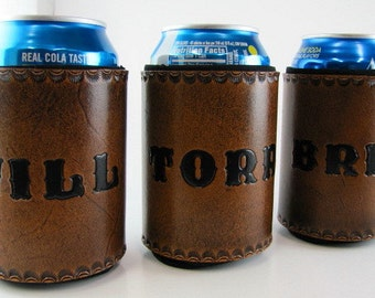 Leather Can Cooler Personalized Made to Order Custom Can Holder Hand Tooled Leather Groomsmen Gift Beer Holder Beverage Holder Hand Stamped