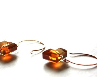 Copper Colored Square Earrings : Minimal Earrings Minimal Style Earrings Rose Gold Earrings