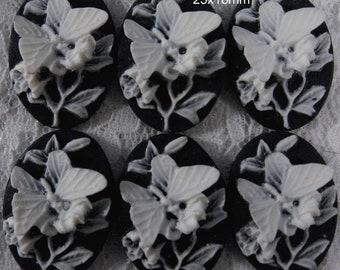 25x18mm - White/Black - Butterfly Cameo - 6 pcs : sku 06.08.12.8 - N1