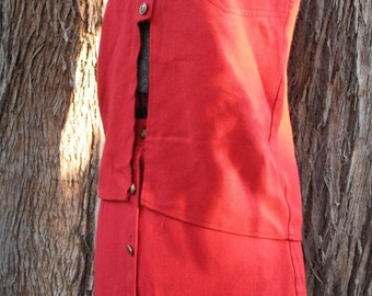 Vintage 1960's Red Mod Mini Skirt and Matching Vest Set